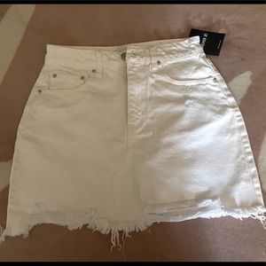 NWT White Frayed Denim Mini Skirt from Forever 21